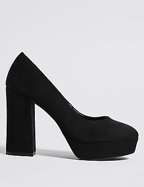 Block Heel Closed Toe Court Shoes