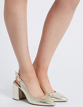 Block Heel Sling Back Court Shoe
