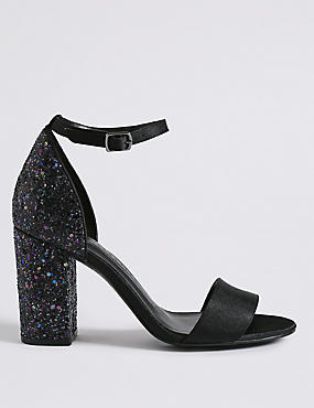 Two Part Block Heel Sparkle Sandals