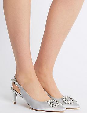 Kitten Heel Jewel Pointed Toe Court Shoes, SILVER, catlanding