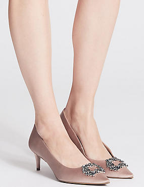 Kitten Heel Embellished Court Shoes