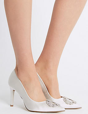 Stiletto Heel Jewel Pointed Toe Court Shoes, IVORY, catlanding