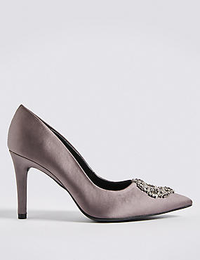 Stiletto Heel Trim Pointed Court Shoes