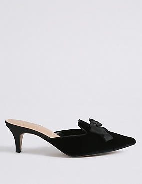 Kitten Heel Bow Mule Shoes