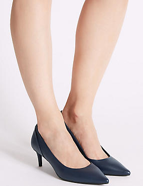 Kitten Heel Pointed Toe Court Shoes, NAVY, catlanding