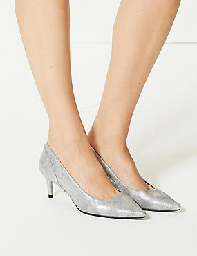 Kitten Heel Pointed Toe Court Shoes, METALLIC, catlanding