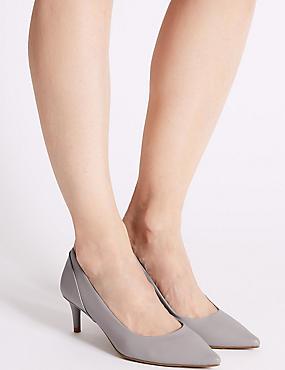 Kitten Heel Pointed Toe Court Shoes, GREY, catlanding