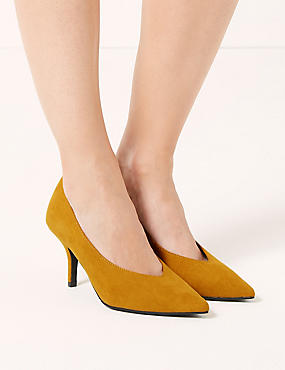 Stiletto Heel High Cut Court Shoes, OCHRE, catlanding
