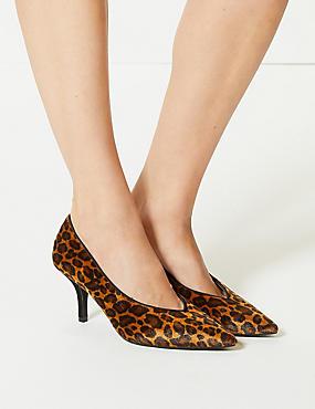 Stiletto Heel High Cut Court Shoes, BROWN MIX, catlanding