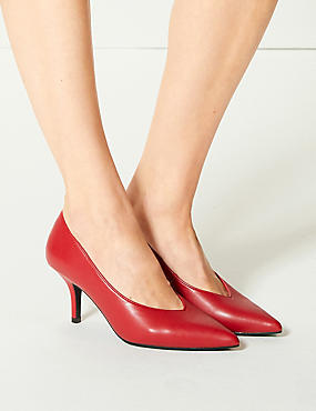 Stiletto Heel High Cut Court Shoes, RED, catlanding
