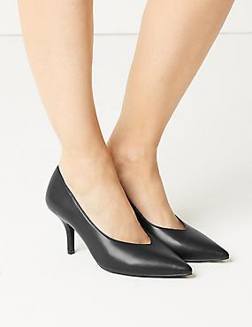 Stiletto Heel High Cut Court Shoes, BLACK, catlanding