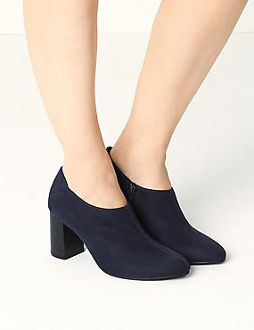 Block Heel Side Zip Shoe Boots with Insolia®, NAVY, catlanding