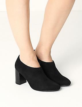 Block Heel Shoe Boots with Insolia®, BLACK, catlanding