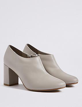 Block Heel Side Zip Shoe Boots, GREY, catlanding