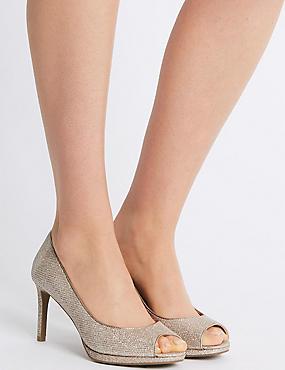 Stiletto Heel Platform Court Shoes, METALLIC, catlanding