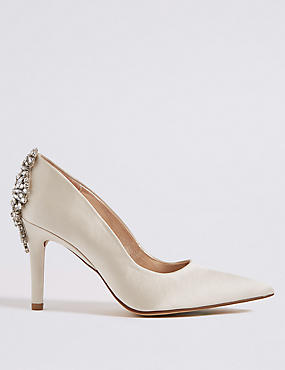 Stiletto Heel Jewel Back Court Shoes