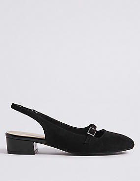 Block Heel Slingback Court Shoes
