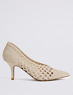 Kitten Heel Weave Court Shoes