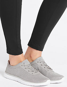 Lace-up Trainers, SILVER, catlanding