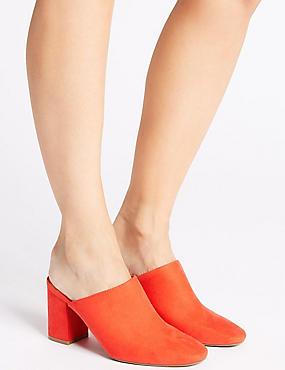 Block Heel Mule Shoes, ORANGE, catlanding