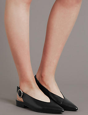 Leather Block Heel Slingback Flats