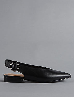 Leather Sling Back Flats