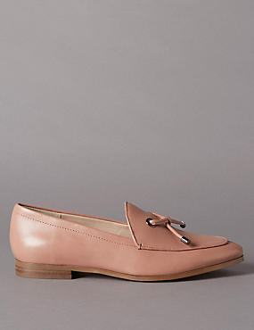 Leather Tie Detail Loafers