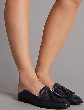 Leather Block Heel Tassel Loafers, NAVY, catlanding