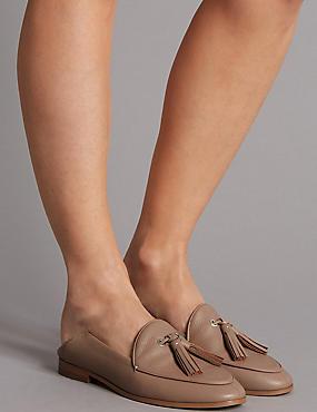 Leather Block Heel Tassel Loafers, LIGHT TAN, catlanding