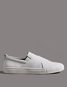 Leather Cross Strap Trainers