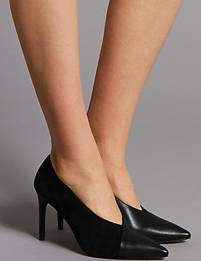 Leather Stiletto Heel Wrap Court Shoes, BLACK, catlanding