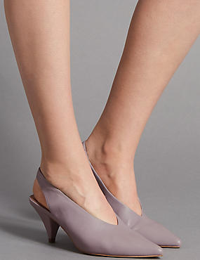 Leather Cone Heel Slingback Court Shoes, LILAC, catlanding