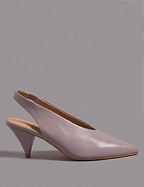 Leather Cone Heel Slingback Court Shoes