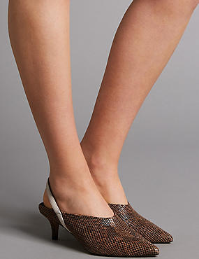 Leather Kitten Heel Slingback Court Shoes, TAN, catlanding