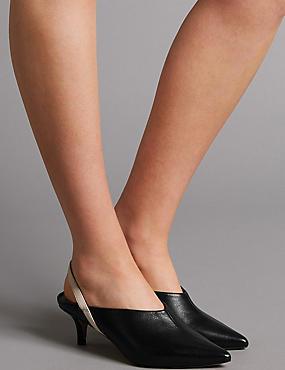 Leather Kitten Heel Slingback Court Shoes, BLACK, catlanding