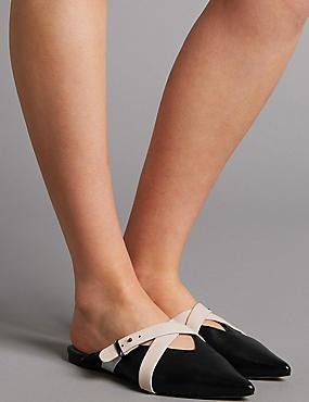 Leather Cross Strap Mule Shoes, BLACK MIX, catlanding