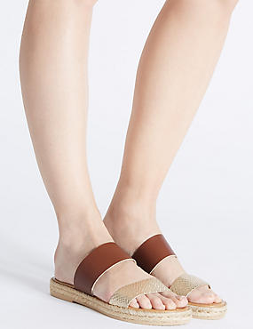 Leather Slip-on Two Band Sandals