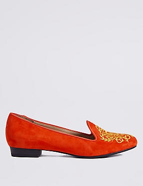 Suede Embroidered Albert Pump Shoes