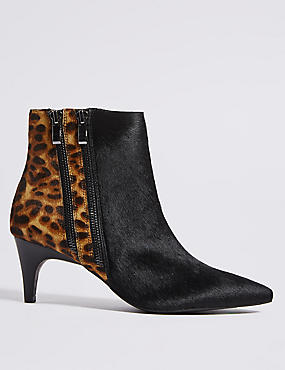 Leather Kitten Heel Double Zip Ankle Boots
