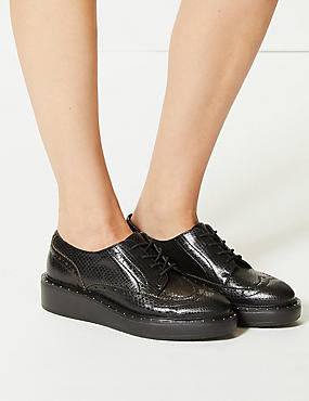 Leather Flatform Brogue Shoes, BLACK MIX, catlanding