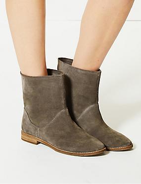 Suede Block Heel Ankle Boots, DARK GREY, catlanding