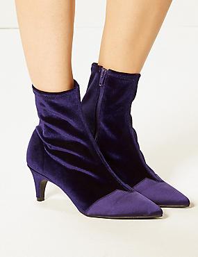 Kitten Heel Side Zip Ankle Boots, PURPLE, catlanding