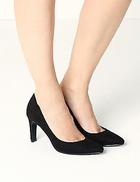 Stiletto Pointed Court Shoes, BLACK, catlanding