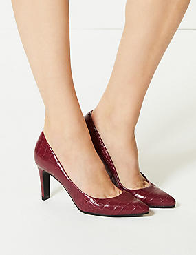 Stiletto Heel Pointed Skin Tone Court Shoes, BERRY, catlanding
