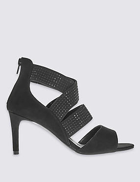 Stiletto Elastic Strap Sandals