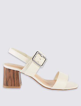 Block Heel Buckle Sandals with Insolia®