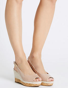Wide Fit Wedge Heel Sling Back Espadrilles