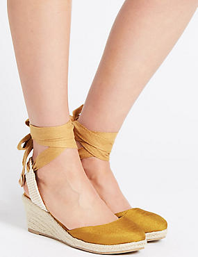 Wide Fit Wedge Heel Ankle Tie Espadrilles, DARK OCHRE, catlanding