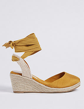 Wide Fit Wedge Heel Ankle Tie Espadrilles
