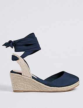Wide Fit Wedge Heel Lace-up Espadrilles